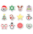 Christmas winter icons set - Santa Claus snowman vector image