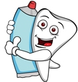 tooth characrer with tooth paste vector image vector image