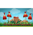 Ants in the mushroom garden vector image vector image
