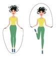 Beautiful girl jumping rope vector image
