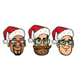 head santa claus multi-ethnic group vector image