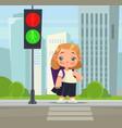 little school girl crossing pedestrian vector image