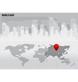 World map with continents Asia vector image