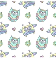 ornamental owls seamless vector image vector image