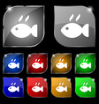 Fish dish Icon sign Set of ten colorful buttons vector image