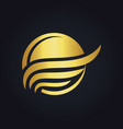 sunset beach water abstract icon gold logo vector image vector image