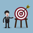 target with arrow and businessman presentation vector image