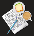 Sudoku game with cappuccino cup and sandwich vector image
