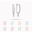 Butcher and kitchen knives icon vector image