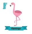 Flamingo F letter Cute children animal alphabet in vector image