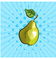 big green pear on blue background lines dots vector image