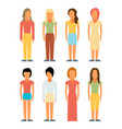 flat style people figures icons vector image
