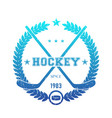 hockey emblem logo with crossed sticks blue over vector image
