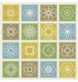 Set of floral monogram design Line art elements vector image