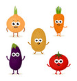 set with cute vegetables vector image