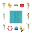 Swimmer and swimming pool flat icons vector image