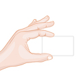 hand holding a card blank vector image vector image