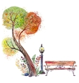 Autumn background with Big Tree vector image vector image