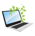 a laptop with a plant vector image