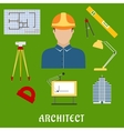 Architect profession with flat icons vector image