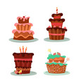 cakes with strawberry and cherry candle and stars vector image