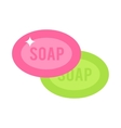 Two pink and green pieces soap cartoon flat vector image