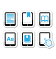 E-book reader e-reader icons set vector image