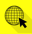 earth globe with cursor black icon with flat vector image vector image