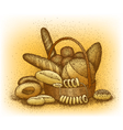 Bakery products hand-drawn vector image