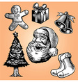 vintage hand drawing style of christmas collection vector image vector image