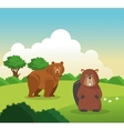 Bear and beaver icon Landscape background vector image