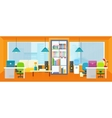 Office Interior Background in Flat vector image
