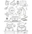Coloring school elements for little kids vector image