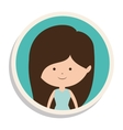 round frame and girl in dress with brown hair vector image