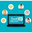 notebook computer social media virtual dialogue vector image