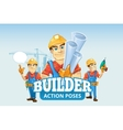builders or handymans in helmet with construction vector image