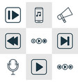 set of 9 music icons includes start song vector image