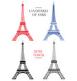 set of eiffel tower landmark of paris vector image