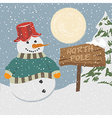 Vintage christmas poster with snowman vector image