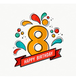 Colorful happy birthday number 8 flat line design vector image