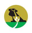 Gardener Landscaper With Shovel Digging Plant vector image vector image