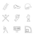 baseball goods icons set outline style vector image
