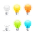 Colorful Light Bulbs Set vector image