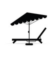 deckchair with umbrella in black vector image