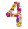 four digit made of different flowers vector image