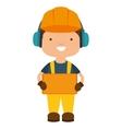 repairman character working with ear cap vector image