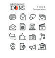 set of modern thin line icons social and vector image