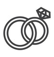 wedding rings line icon valentines day vector image