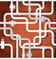 Tubes on brick wall vector image vector image