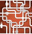 Tubes on brick wall vector image